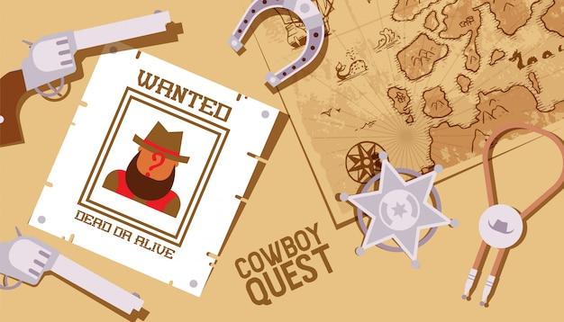 Quest de cowboy, jogo do velho oeste, estrela do xerife e símbolos ocidentais americanos