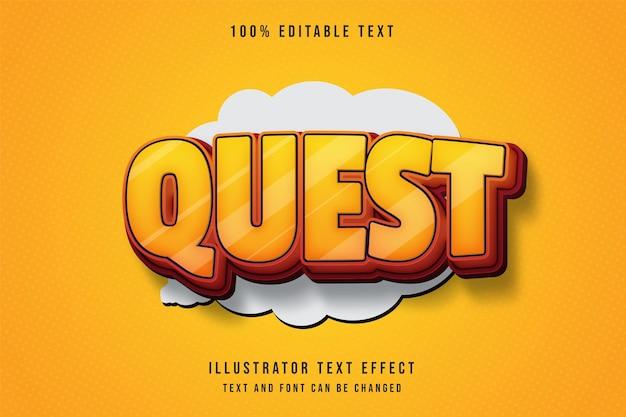 Quest, efeito de texto editável em 3d, gradação amarela, efeito laranja vermelho estilo