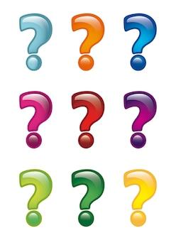 Questiona ícones sobre ilustração vetorial de fundo branco