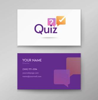 Questionário logotipo enquete ícone vector design ou entrevista discussão logotipo no modelo de cartão de visita