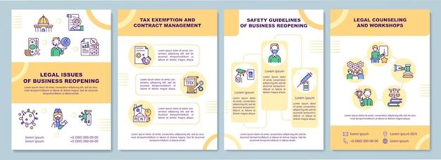 Questões jurídicas de modelo de folheto de reabertura de negócios