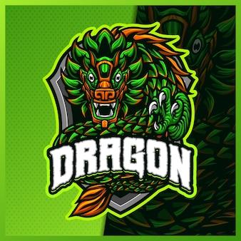 Quetzalcoatl maia dragão mascote esport ilustrações de design de logotipo modelo vetorial fera de três cabeças