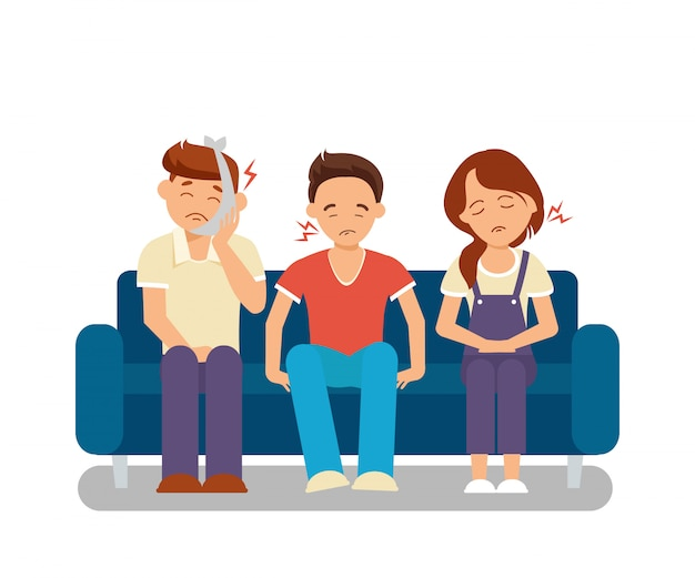 Queue in dental clinic flat illustration