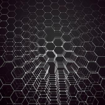 Química 3d padrão, estrutura da molécula hexagonal em investigação médica branca, científica. conceito de medicina, ciência e tecnologia. projeto de movimento. fundo abstrato geométrico