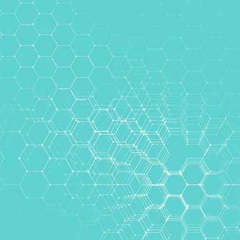 Química 3d padrão, estrutura de molécula hexagonal na pesquisa de dna médica, científica azul