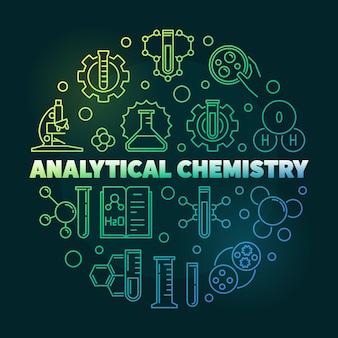 Química analítica colorido contorno redondo icon ilustração