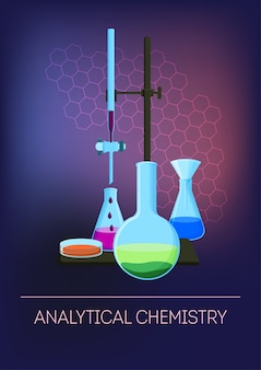 Química analítica com vidraria com reagentes.
