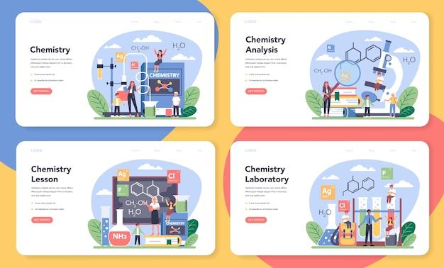 Química estudando banner da web ou conjunto de páginas de destino
