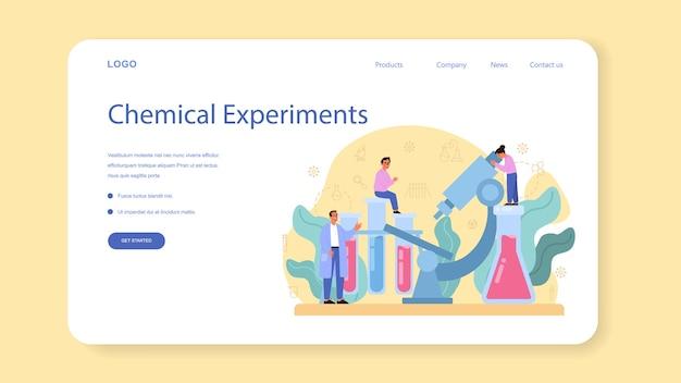 Química estudando banner da web ou página de destino