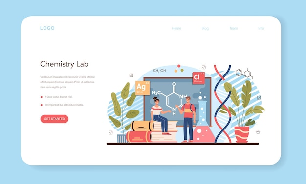 Química estudando banner da web ou página inicial. aula de quimica