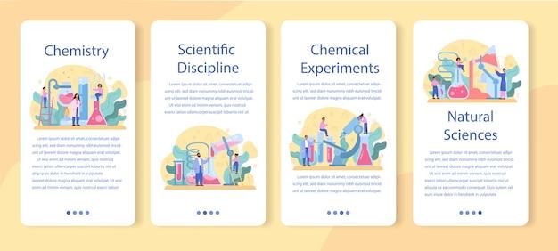 Química estudando conjunto de banner de aplicativo móvel. aula de química. experiência científica em laboratório com equipamentos químicos.