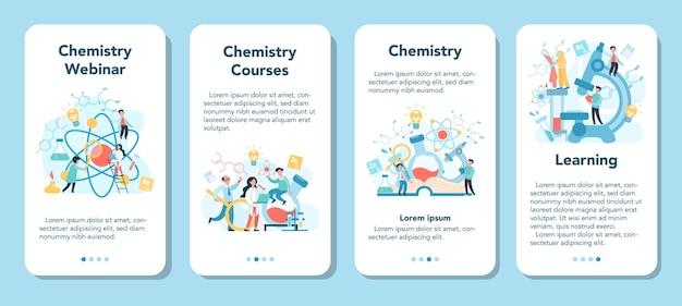 Química estudando em webinar ou conjunto de banner de aplicativo móvel do curso. experiência científica em laboratório. equipamento científico, educação química.