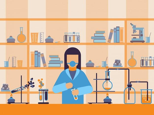 Químico no trabalho em laboratório,