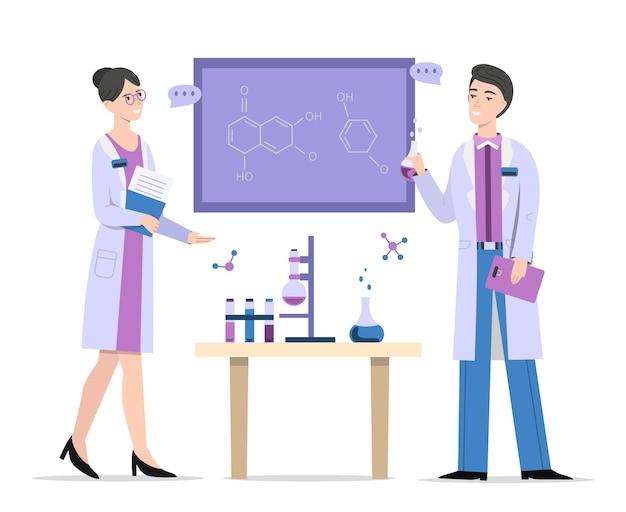 Químicos na ilustração de laboratório