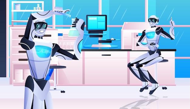 Químicos robóticos fazendo experimentos químicos no conceito de inteligência artificial de engenharia genética de laboratório