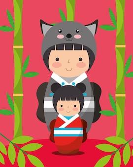 Quimono de boneca japonesa kokeshi