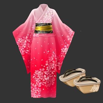 Quimono e geta, vestido de mulher japonesa yukata.