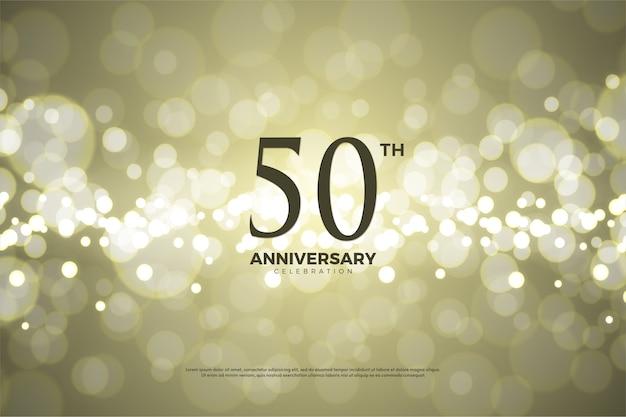 Quinquagésimo aniversário com números e há um efeito de folha de ouro