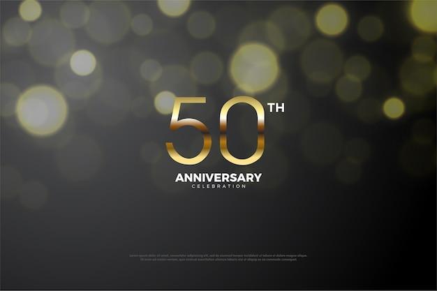 Quinquagésimo aniversário com uma mistura de números escuros e dourados