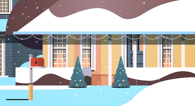 Quintal coberto de neve na construção de casas de temporada de inverno com decorações para o ano novo e ilustração vetorial horizontal de celebração de natal