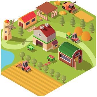 Quintal isométrico de fazenda ou rancho com dependências