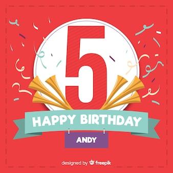 Quinto cartão de convite de festa de aniversário