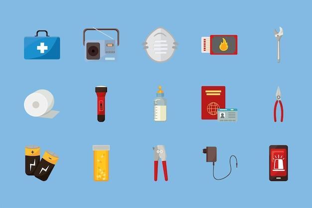 Quinze ícones de kit de emergência