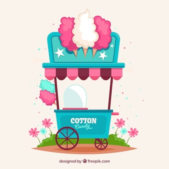 Quiosque colorido de algodão doce sobre rodas