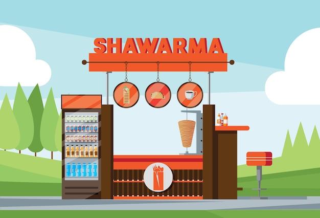 Quiosque de fastfood com texto shawarma