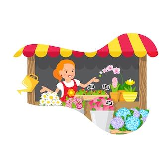 Quiosque de flores, ilustração plana de loja