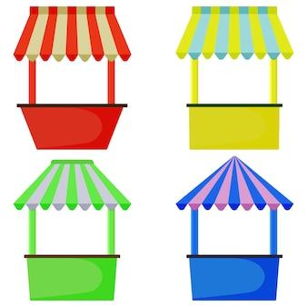 Quiosque de rua, vitrine para venda de rua. tenda para a feira. várias opções.