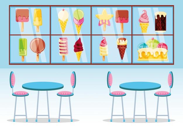 Quiosque e vitrine de sorvete