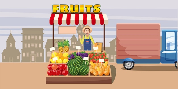 Quiosque horizontal da cidade do conceito do fundo das frutas