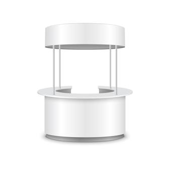 Quiosque stand estande contador promo vetor 3d exposição mesa redonda design. loja de quiosque.