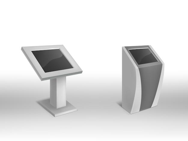 Quiosques 3d informativos digitais realísticos, signage digital interativo com tela vazia.