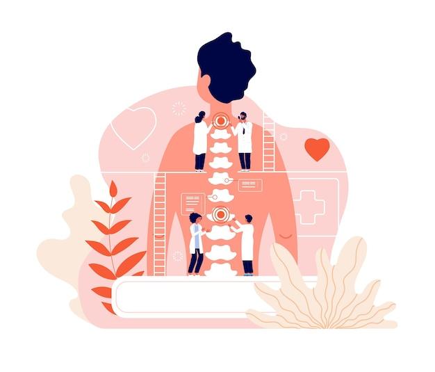 Quiroprático. problemas de diagnóstico de doenças da coluna vertebral e dor no tratamento.