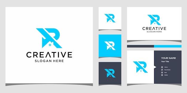 R home logo design com modelo de cartão de visita