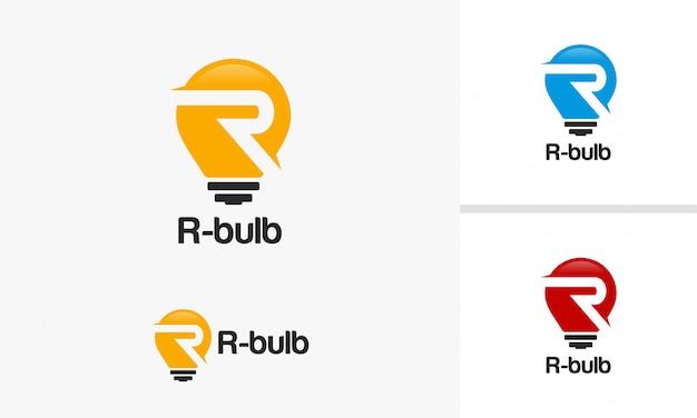 R inicial modelo de logotipo de bulbo vector