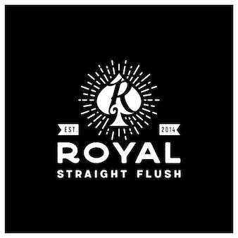R inicial para design de logotipo retro vintage do cartão de jogo royal flush spade poker