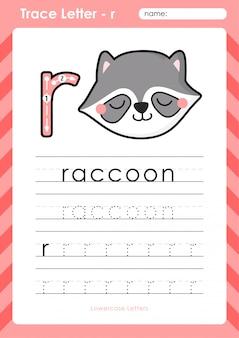 R raccoon: planilha de letras de rastreamento az do alfabeto - exercícios para crianças