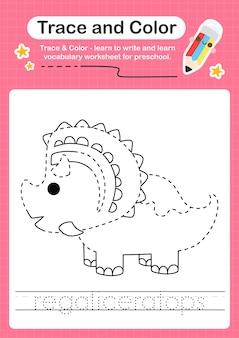 R rastreando a palavra para dinossauros e colorindo a planilha de rastreamento com a palavra regaliceratops