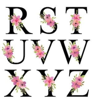 R - z alfabeto letras desenho aquarela rosa roxo florals bouquet