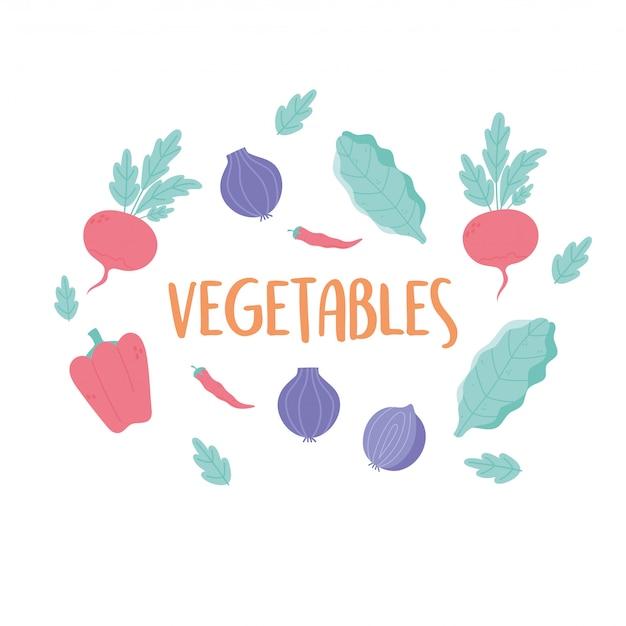 Rabanete pimenta cebola legumes orgânicos frescos menu de alimentos folhas saudáveis