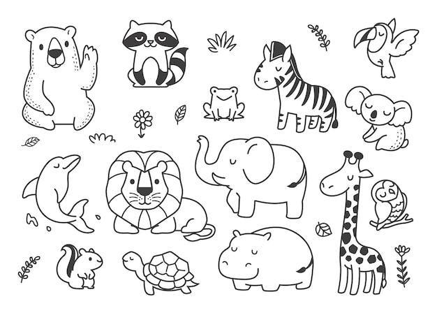 Rabiscar animais fofos na floresta