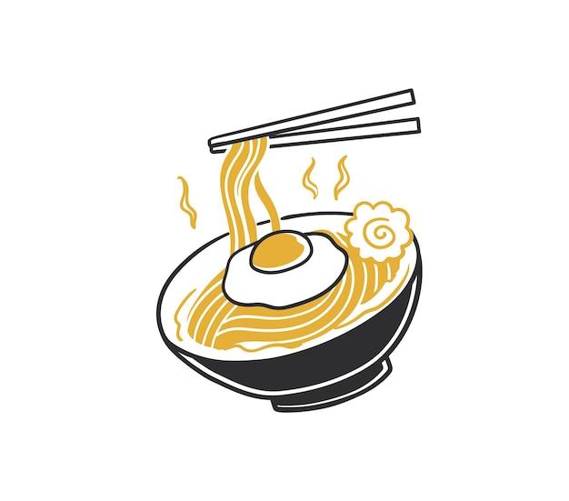 Rabiscar macarrão ramen japonês em uma tigela