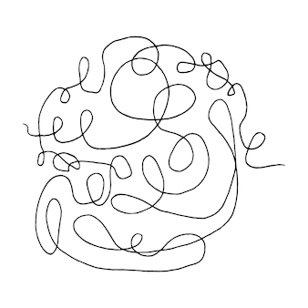 Rabisco abstrato emaranhado com elementos de doodle de linha desenhada à mão