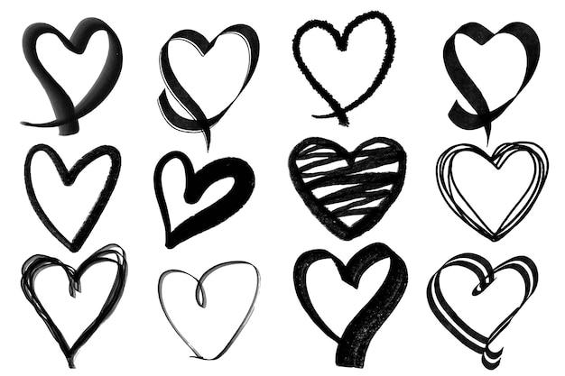 Rabisco clipart de doodle em forma de coração