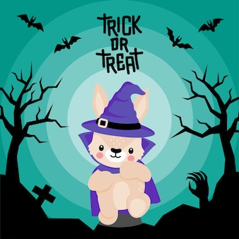 Rabisco de coelho fofo com fantasia de halloween doodle desenho animado