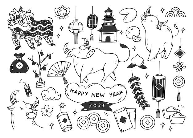 Rabiscos de ano novo chinês, ilustração do ano do boi