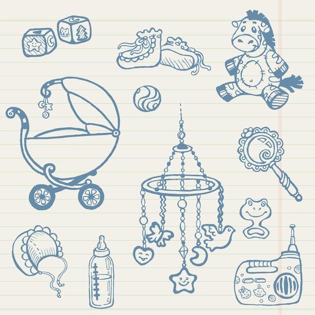 Rabiscos de bebê - coleção desenhada à mão